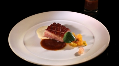 french duck breast . lotus seed mash citrus garden . vanilla hoisin sauce