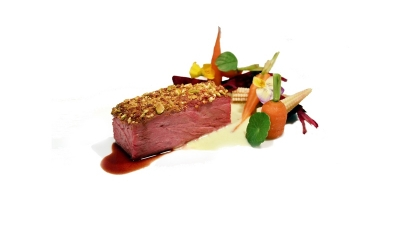 australian black angus . short rib . sous vide . bacon pistachio . pistachio puree . red wine jus
